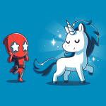 Deadpool's Magical Friend t-shirt officially licensed cobalt blue Marvel t-shirt featuring Deadpool looking in awe with stars over his eyes looking at a white and blue unicorn with sparkles around it