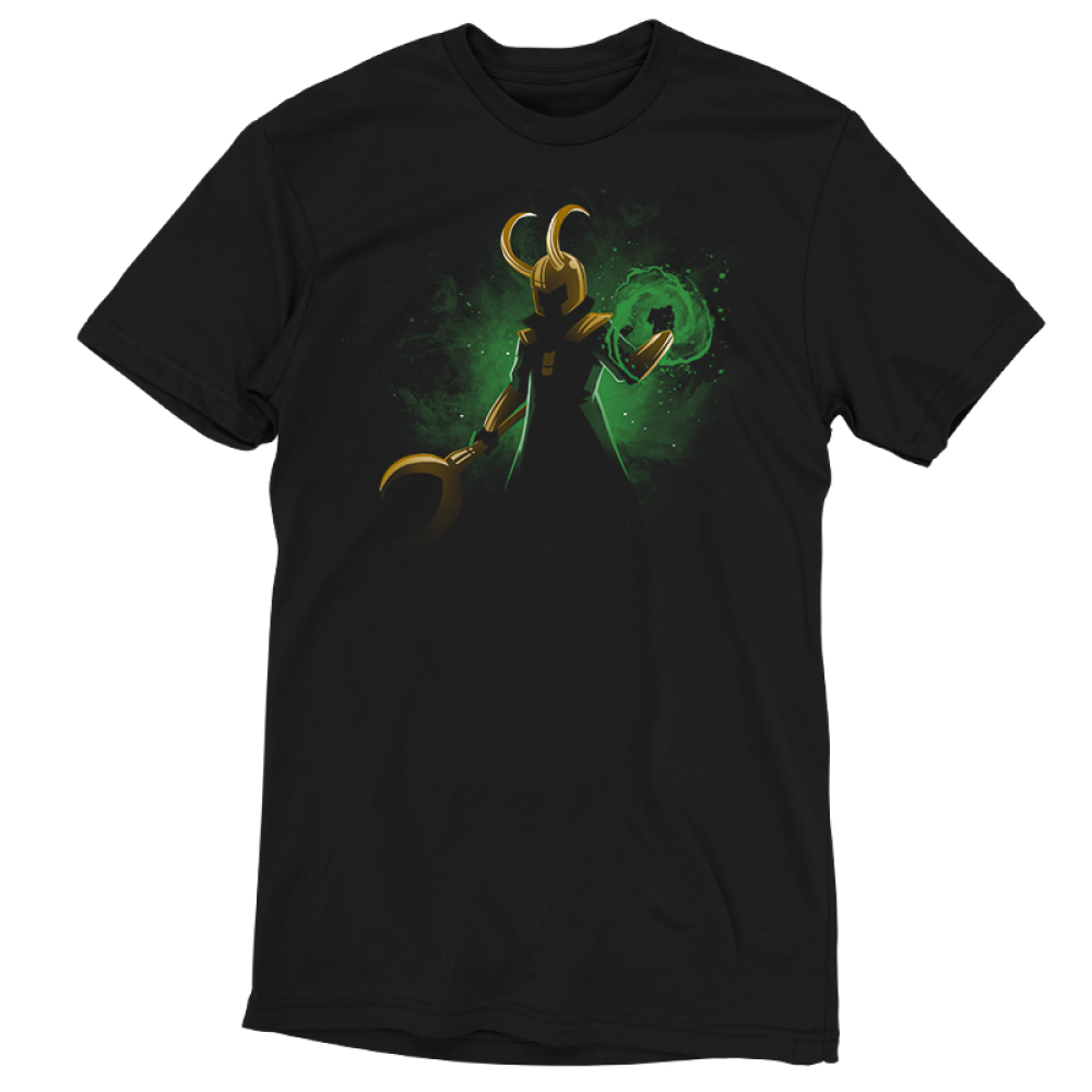 God of Mischief t-shirt officially licensed black Marvel t-shirt featuring Loki in the shadows with his gold helmet and staff with a green swirl of power forming around his other hand with a green galaxy behind him