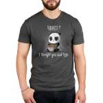 Tots > Squats Men's t-shirt model TeeTurtle charcoal t-shirt featuring a panda looking confused with a tater tot in his hand and a whole bowl sitting in his lap