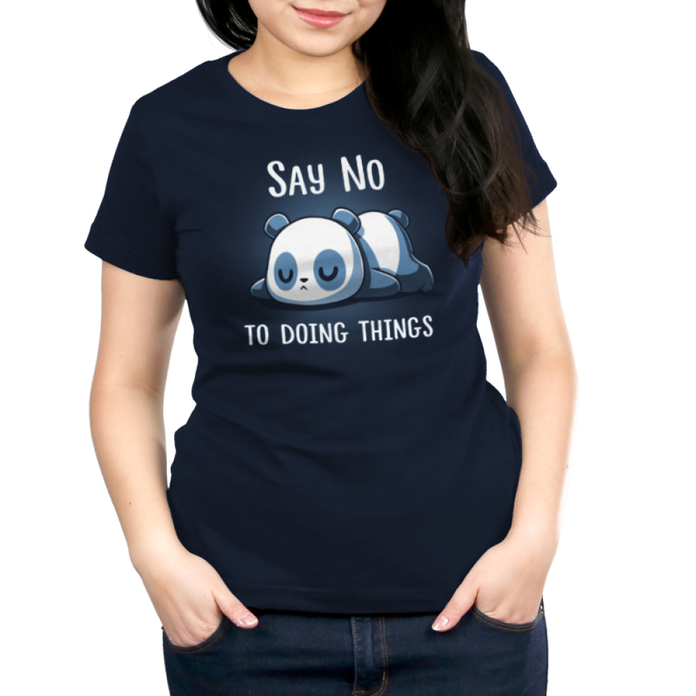 Say No To Doing Things Women's t-shirt model TeeTurtle navy t-shirt featuring a panda laying flat on the ground on his stomach sleeping