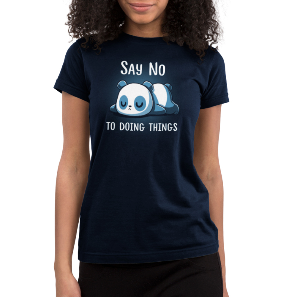 Say No To Doing Things Junior's t-shirt model TeeTurtle navy t-shirt featuring a panda laying flat on the ground on his stomach sleeping