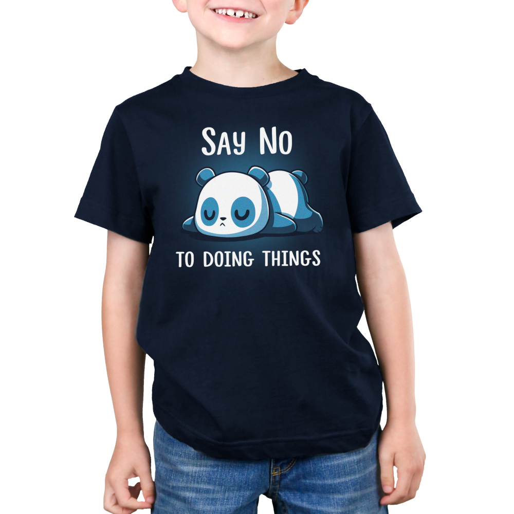Say No To Doing Things Kid's t-shirt model TeeTurtle navy t-shirt featuring a panda laying flat on the ground on his stomach sleeping