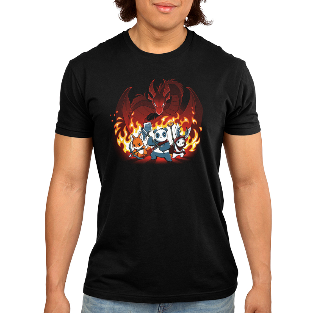 Dragon Fight Men's t-shirt model TeeTurtle black t-shirt featuring an orange fox ranger, panda warrior, and a white bunny druid posing in front of a massive red dragon with flames in the background.