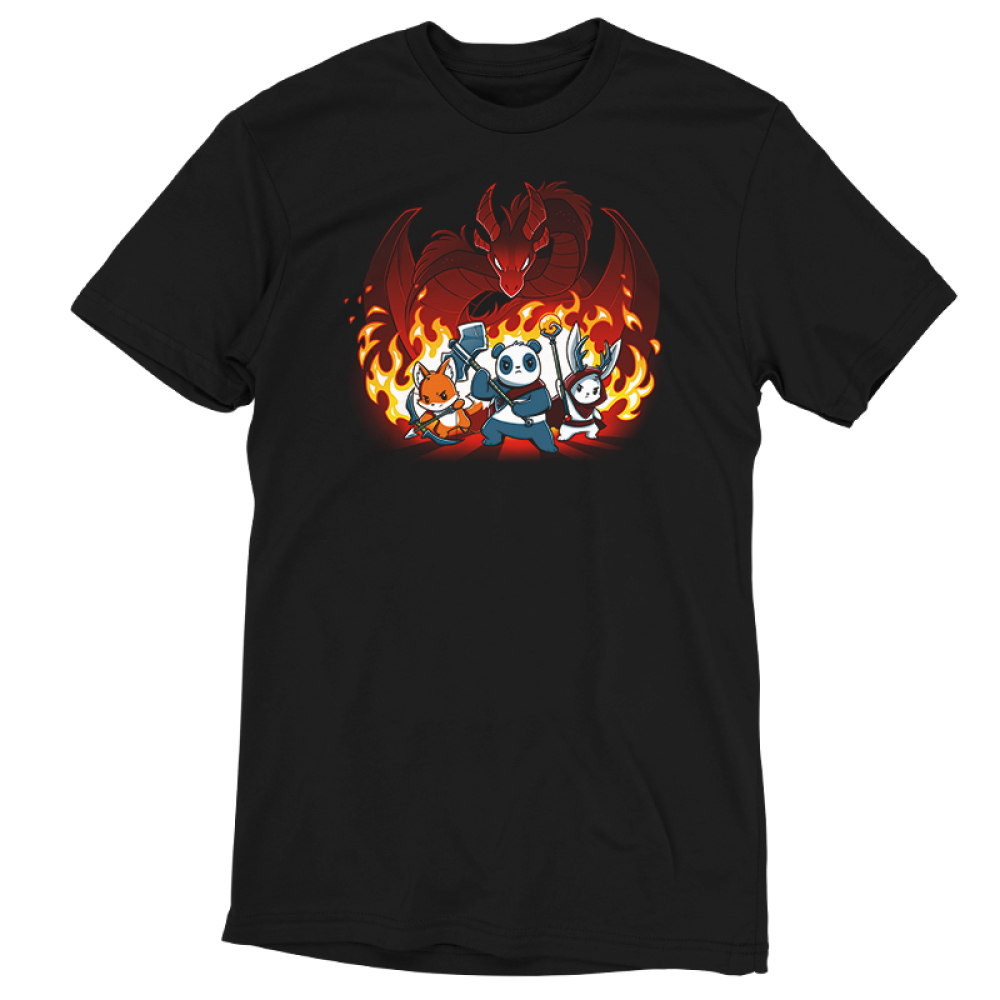 Dragon Fight black t-shirt featuring an orange fox ranger, panda warrior, and a white bunny druid posing in front of a massive red dragon with flames in the background.