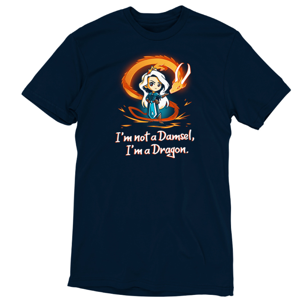 I'm Not a Damsel, I'm a Dragon t-shirt TeeTurtle navy t-shirt featuring a woman with long silver hair with a crown on her head and an orange fire dragon swirling around her