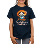I'm Not a Damsel, I'm a Dragon Kid's t-shirt model TeeTurtle navy t-shirt featuring a woman with long silver hair with a crown on her head and an orange fire dragon swirling around her