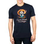I'm Not a Damsel, I'm a Dragon Men's t-shirt model TeeTurtle navy t-shirt featuring a woman with long silver hair with a crown on her head and an orange fire dragon swirling around her