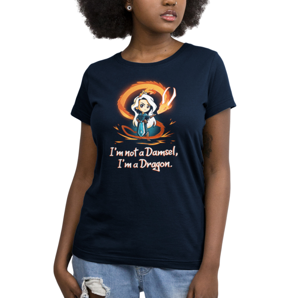 I'm Not a Damsel, I'm a Dragon Women's t-shirt model TeeTurtle navy t-shirt featuring a woman with long silver hair with a crown on her head and an orange fire dragon swirling around her