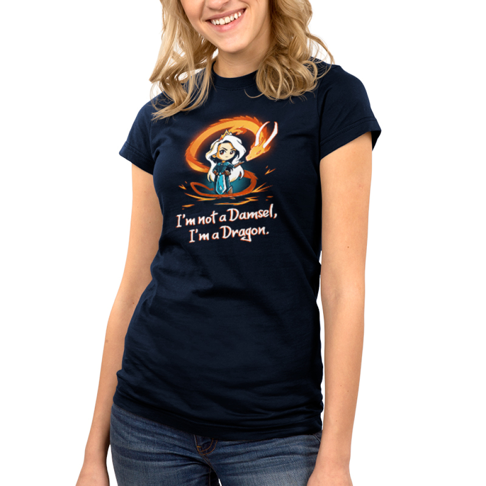 I'm Not a Damsel, I'm a Dragon Junior's t-shirt model TeeTurtle navy t-shirt featuring a woman with long silver hair with a crown on her head and an orange fire dragon swirling around her