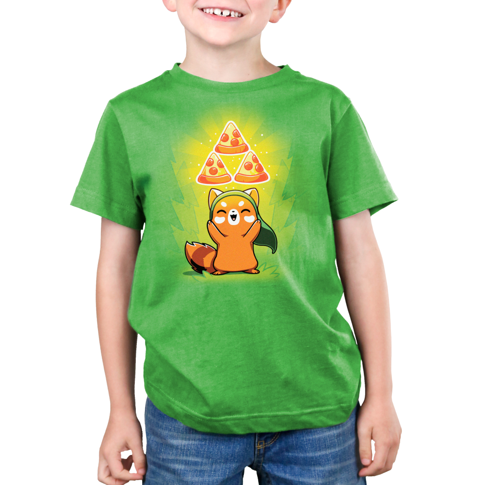 The Power of Pizza Kid's t-shirt model TeeTurtle apple green t-shirt featuring a happy red panda with a green hat standing up while holding up three pizza slices in a triangular formation with green a power-up aura.