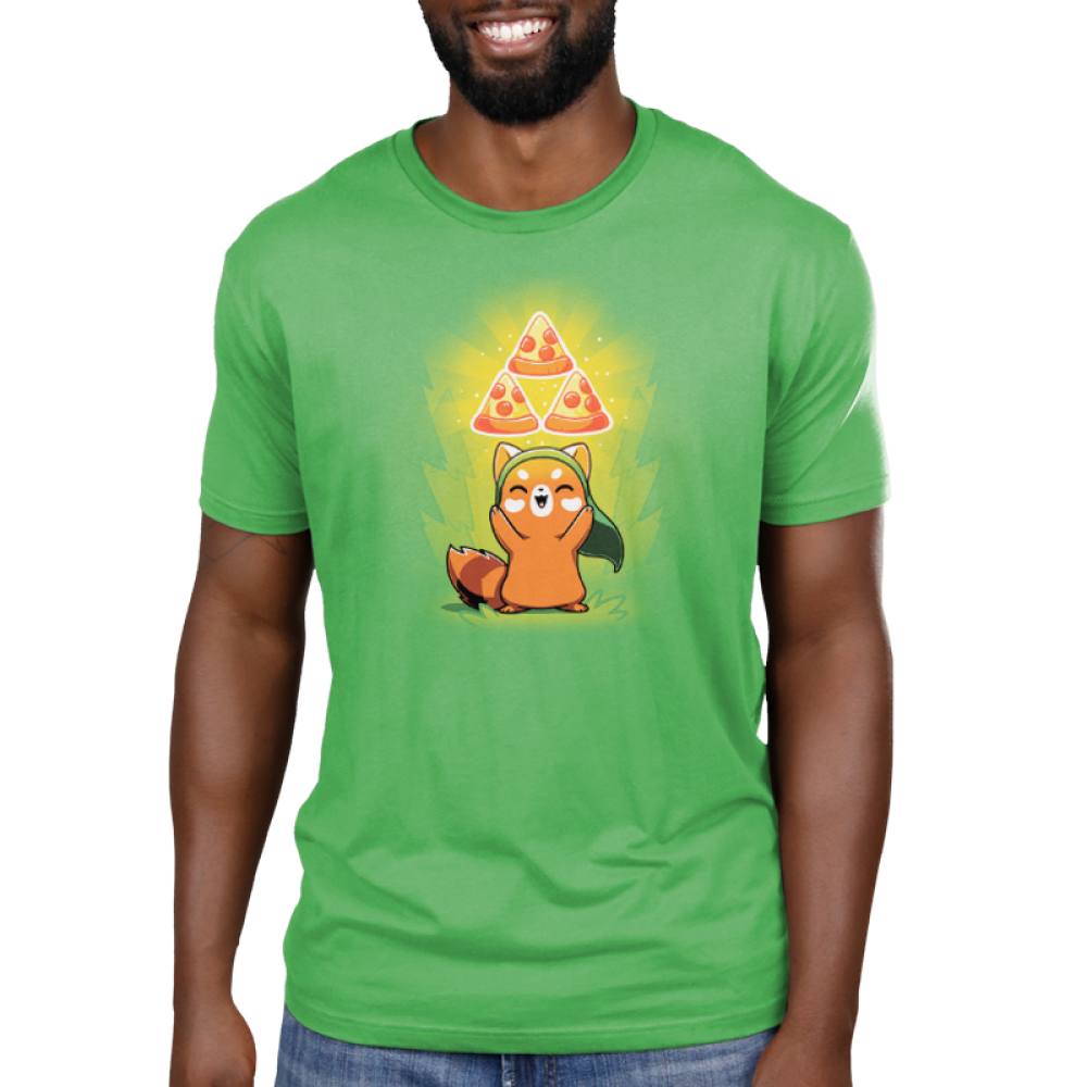 The Power of Pizza Men's t-shirt model TeeTurtle apple green t-shirt featuring a happy red panda with a green hat standing up while holding up three pizza slices in a triangular formation with green a power-up aura.