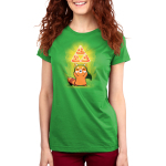 The Power of Pizza Women's t-shirt model TeeTurtle apple green t-shirt featuring a happy red panda with a green hat standing up while holding up three pizza slices in a triangular formation with green a power-up aura.