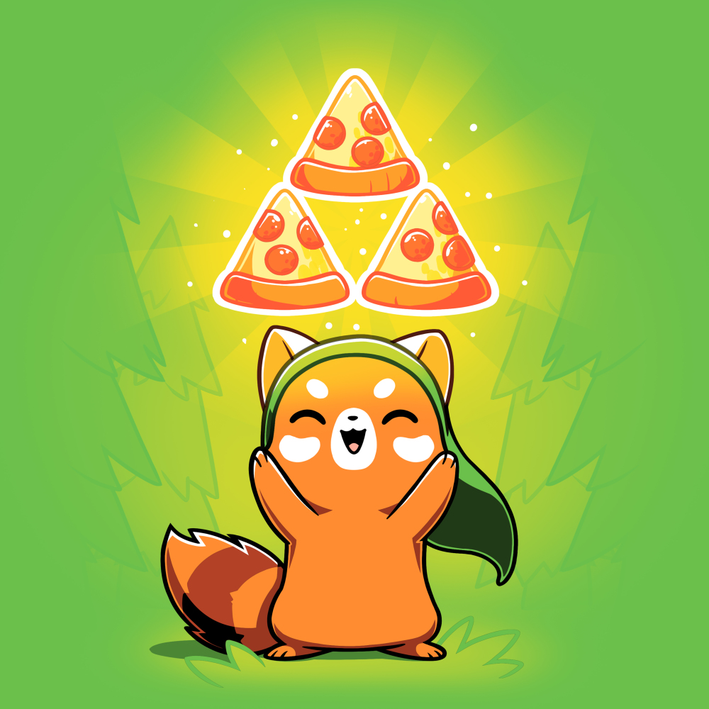The Power of Pizza apple green t-shirt featuring a happy red panda with a green hat standing up while holding up three pizza slices in a triangular formation with green a power-up aura.