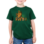 Chewbacca and Ewoks Kid's t-shirt model TeeTurtle original forest green t-shirt featuring Chewbacca surrounded by cute ewoks