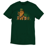 Chewbacca and Ewoks t-shirt TeeTurtle original forest green t-shirt featuring Chewbacca surrounded by cute ewoks