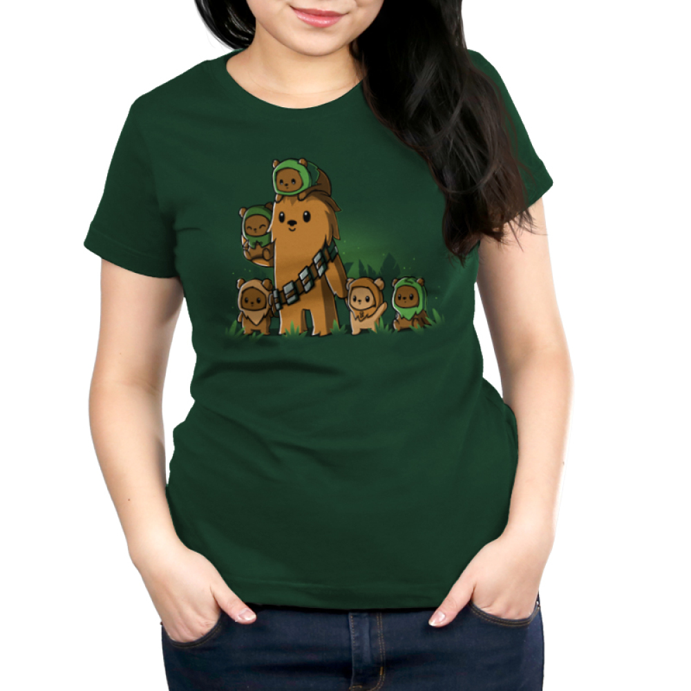 Chewbacca and Ewoks women's t-shirt model TeeTurtle original forest green t-shirt featuring Chewbacca surrounded by cute ewoks