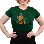 Chewbacca and Ewoks Junior's t-shirt model TeeTurtle original forest green t-shirt featuring Chewbacca surrounded by cute ewoks