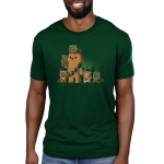 Chewbacca and Ewoks Men's t-shirt model TeeTurtle original forest green t-shirt featuring Chewbacca surrounded by cute ewoks