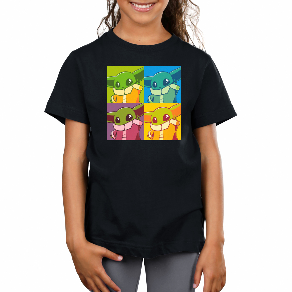 Grogu Pop Art Kid's t-shirt model officially licensed black Star Wars t-shirt featuring Grogu from the Mandalorian in 4 identical tiles all filtered by differing colors, similar to the famous Andy Warhol paintings