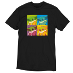 Grogu Pop Art t-shirt officially licensed black Star Wars t-shirt featuring Grogu from the Mandalorian in 4 identical tiles all filtered by differing colors, similar to the famous Andy Warhol paintings