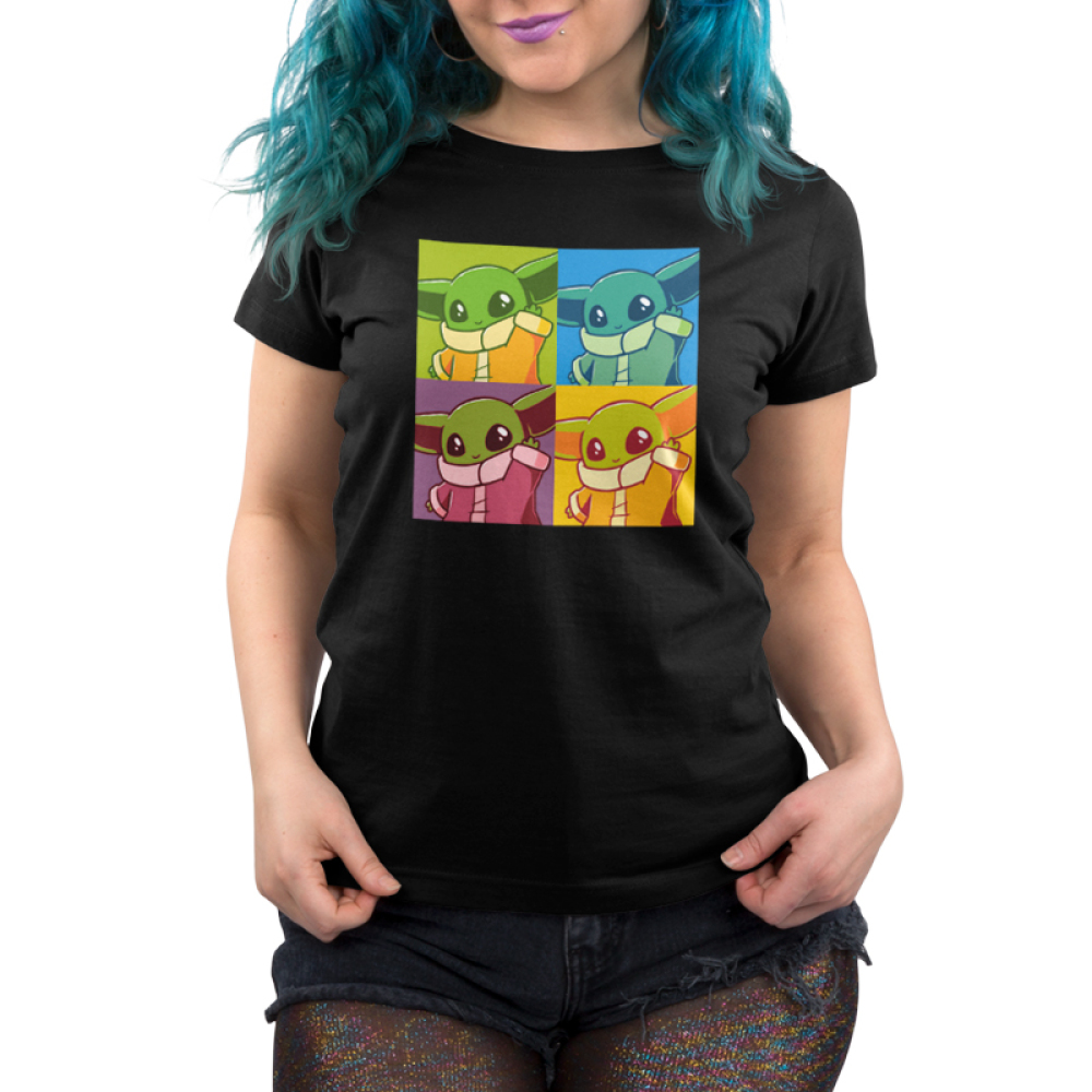 Grogu Pop Art Women's t-shirt model officially licensed black Star Wars t-shirt featuring Grogu from the Mandalorian in 4 identical tiles all filtered by differing colors, similar to the famous Andy Warhol paintings