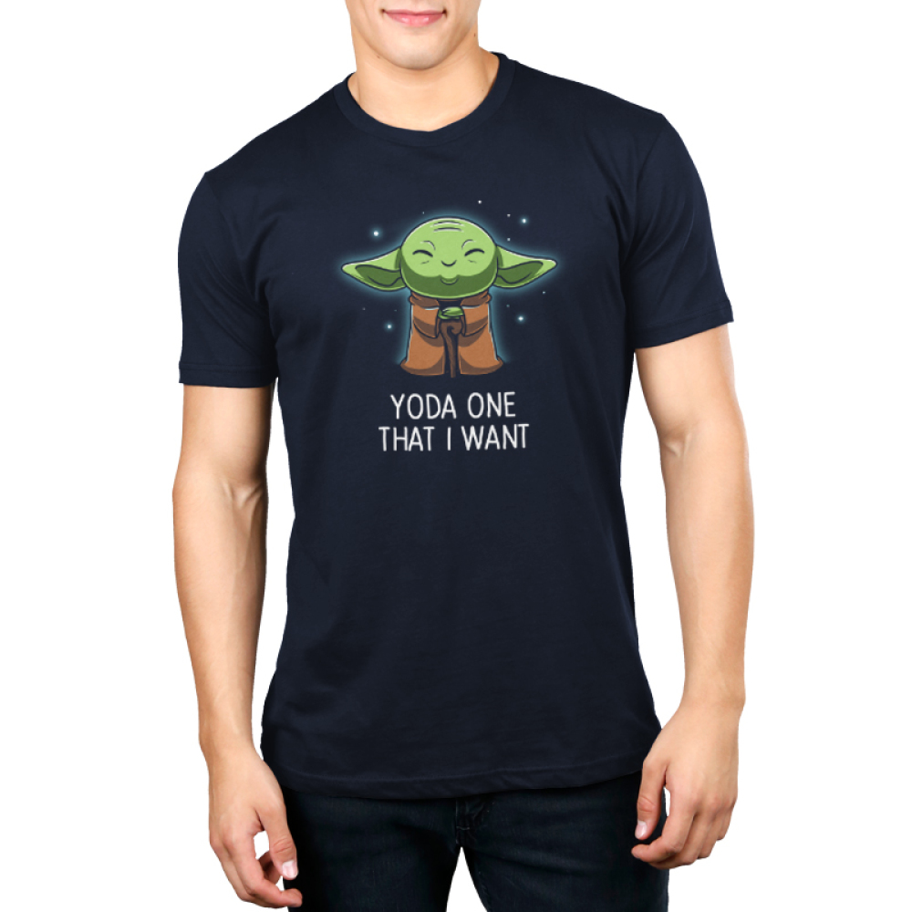 Yoda One That I Want Men's t-shirt modelTeeTurtle original t-shirt featuring Yoda connecting with the force and closing his eyes