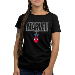 The Amazing Spider-Man Women's t-shirt model officially licensed black Marvel t-shirt featuring spider man hanging upside down from a Marvel logo made out of spider webs
