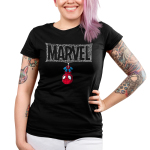 The Amazing Spider-Man Junior's t-shirt model officially licensed black Marvel t-shirt featuring spider man hanging upside down from a Marvel logo made out of spider webs