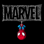 The Amazing Spider-Man t-shirt officially licensed black Marvel t-shirt featuring spider man hanging upside down from a Marvel logo made out of spider webs