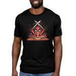 Chef Deadpool mens tshirt model officially licensed black tshirt featuring deadpool cutting up sushi