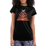 Chef Deadpool Juniors tshirt model officially licensed black tshirt featuring deadpool cutting up sushi