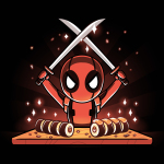 Chef Deadpool tshirt officially licensed black tshirt featuring deadpool cutting up sushi