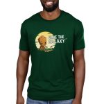 Save the Galaxy mens tshirt model officially licensed forest green tshirt featuring groot planting some saplings