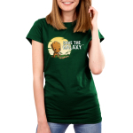 Save the Galaxy womens tshirt model officially licensed forest green tshirt featuring groot planting some saplings