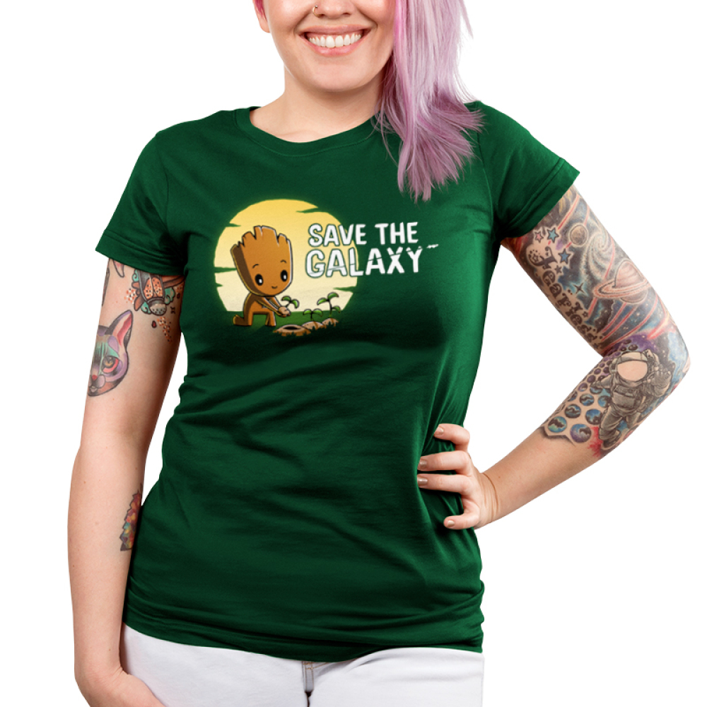 Save the Galaxy juniors tshirt model officially licensed forest green tshirt featuring groot planting some saplings