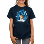 Alice In Wonderland Kid's t-shirt model officially licensed navy Disney t-shirt featuring Alice reading a book that has conjured all the magical characters from wonderland to float around her