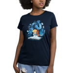 Alice In Wonderland Women's t-shirt model officially licensed navy Disney t-shirt featuring Alice reading a book that has conjured all the magical characters from wonderland to float around her