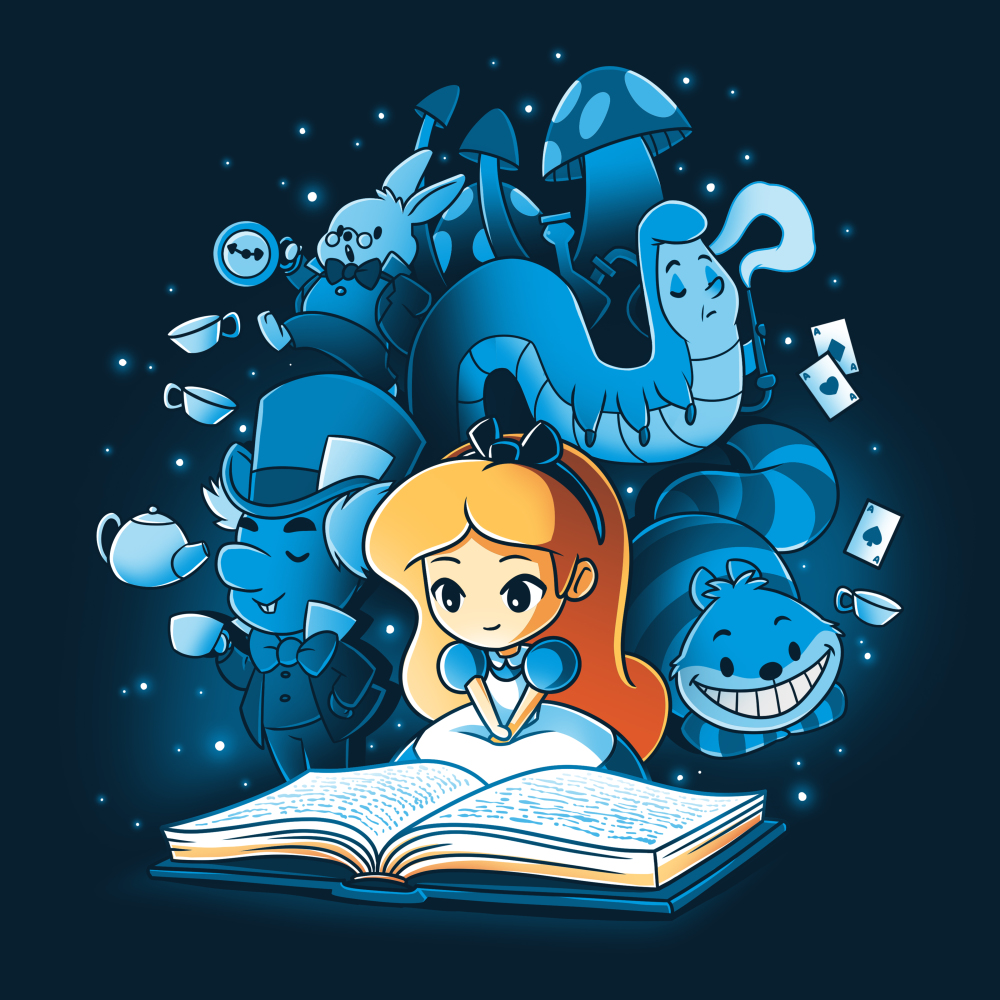 Alice In Wonderland t-shirt officially licensed navy Disney t-shirt featuring Alice reading a book that has conjured all the magical characters from wonderland to float around her