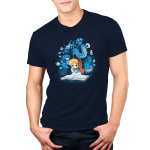 Alice In Wonderland Men's t-shirt modelofficially licensed navy Disney t-shirt featuring Alice reading a book that has conjured all the magical characters from wonderland to float around her