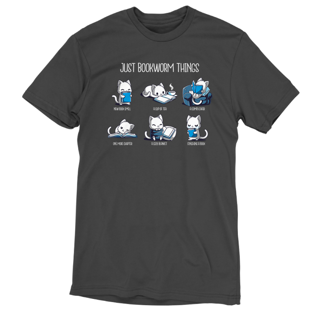 Just Bookworm Things Men's t-shirt model TeeTurtle charcoal t-shirt featuring a grid of 6 white cats, one smelling a book, one reading with a cup of tea, one reading in a cozy chair, one almost falling asleep while reading, one snuggled up with a cozy blanket with its book, and one crying after finishing its book