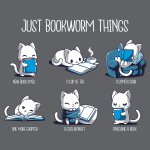 Just Bookworm Things t-shirt TeeTurtle charcoal t-shirt featuring a grid of 6 white cats, one smelling a book, one reading with a cup of tea, one reading in a cozy chair, one almost falling asleep while reading, one snuggled up with a cozy blanket with its book, and one crying after finishing its book