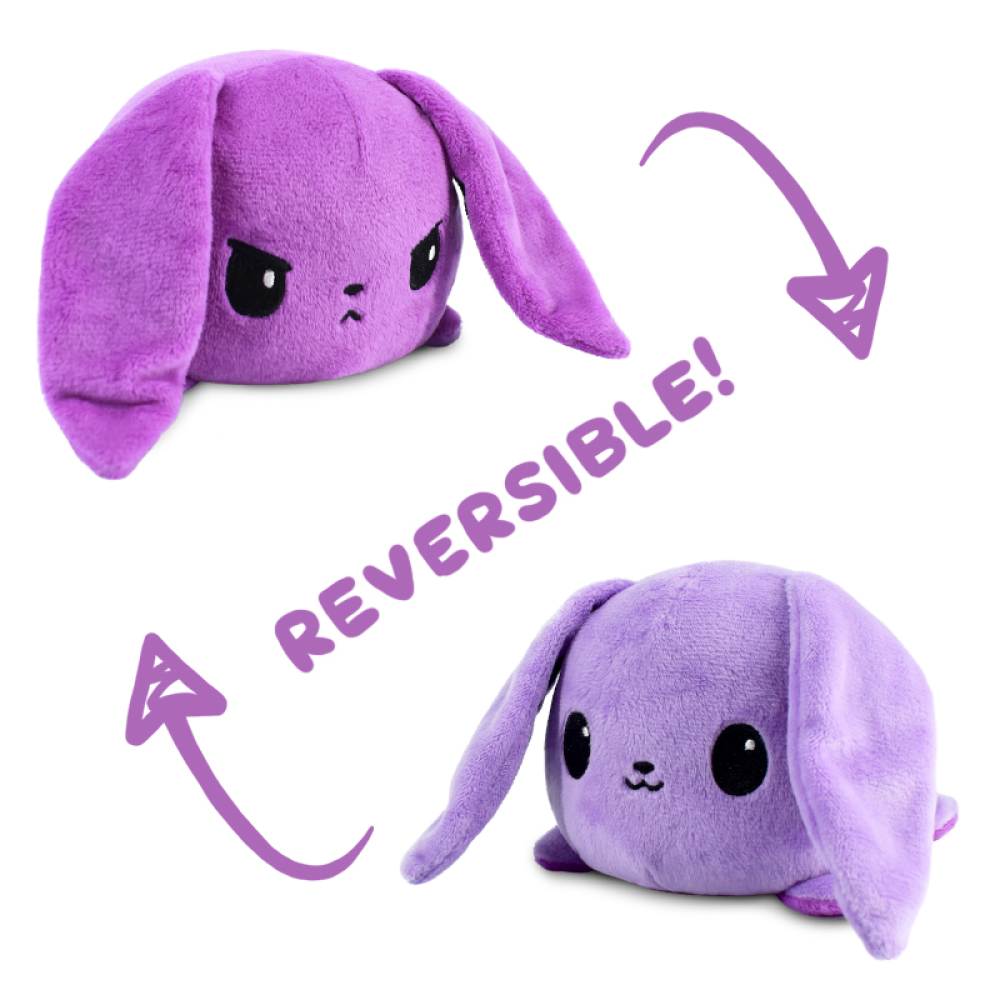 An angry purple reversible bunny plushie flipping to a happy light purple reversiblebunny plushie.