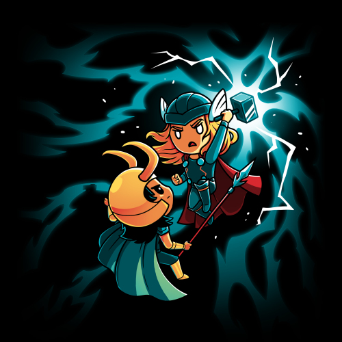 Sibling Rivalry tshirt officially licensed black tshirt featuring Thor and Loki fighting amidst lightening