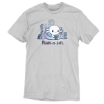 Reads-o-lotl silver t-shirt featuring a happy white axolotl with purple and blue gills sitting down while reading a book with stacks of books in the background.
