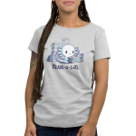 Reads-o-lotl Women's t-shirt model TeeTurtle silver t-shirt featuring a happy white axolotl with purple and blue gills sitting down while reading a book with stacks of books in the background.