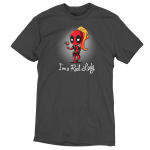 Lady Deadpool tshirt officially licensed charcoal tshirt featuring lady deadpool playing with a grenade