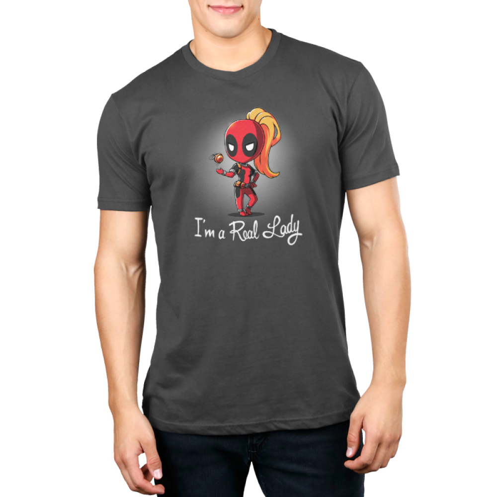 Lady Deadpool mens tshirt model officially licensed charcoal tshirt featuring lady deadpool playing with a grenade