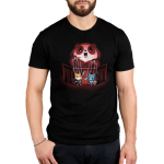 Puppet Master Men's t-shirt model TeeTurtle black t-shirt featuring an evil looking Panda towering over two puppets he is holding on strings, one a fox with a sword, another a cat with an axe and shield