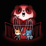Puppet Master t-shirt TeeTurtle black t-shirt featuring an evil looking Panda towering over two puppets he is holding on strings, one a fox with a sword, another a cat with an axe and shield