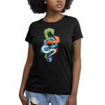 The Four Elements Women's t-shirt model TeeTurtle black t-shirt featuring a green earth dragon, orange fire dragon, blue water dragon, and light blue air dragon swirling around each other.